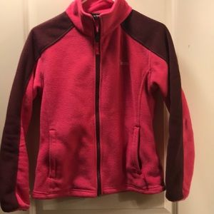 Pink and burgundy zip up fleece